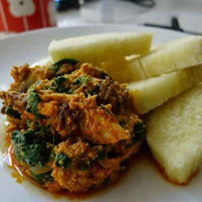 Yam and Spinach sauce